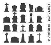 dark gravestone icons. grave... | Shutterstock .eps vector #1634013835