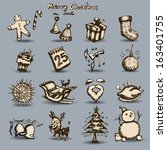 merry christmas set hand drawn... | Shutterstock .eps vector #163401755