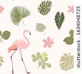 bright hibiscus flowers  exotic ... | Shutterstock .eps vector #1634048725