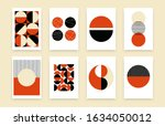 abstract geometric poster set.... | Shutterstock .eps vector #1634050012