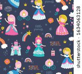 childish seamless pattern with... | Shutterstock .eps vector #1634063128