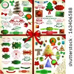 christmas icons set and...   Shutterstock .eps vector #163406588