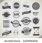 set of vintage retro labels | Shutterstock .eps vector #163406606