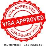grunge red visa approved word... | Shutterstock .eps vector #1634068858