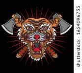 vintage tiger head tattoo ... | Shutterstock .eps vector #1634096755
