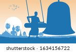 monk hit bell in the morning to ... | Shutterstock .eps vector #1634156722