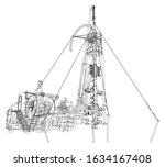 oilfield coiled tubing... | Shutterstock .eps vector #1634167408