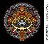 rangda mask vector design ... | Shutterstock .eps vector #1634199928