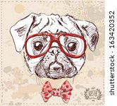 Hipster Pug Dog With Glasses...