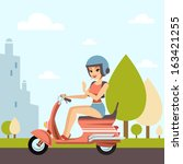 beautiful woman with her scooter | Shutterstock .eps vector #163421255
