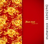 red and gold floral background... | Shutterstock .eps vector #163421942