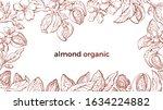 almond frame. vector botany... | Shutterstock .eps vector #1634224882