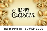 easter banner. scattered golden ... | Shutterstock .eps vector #1634241868