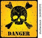 yellow danger sign with skull ...   Shutterstock .eps vector #163430192