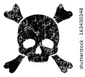 grunge skull isolated on white  ... | Shutterstock .eps vector #163430348