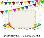 blank card with confetti  blows ... | Shutterstock .eps vector #1634330755
