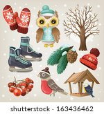 set of christmas winter items... | Shutterstock .eps vector #163436462