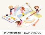 creative kids with school...   Shutterstock .eps vector #1634395702