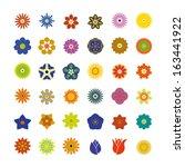 flower icons set | Shutterstock .eps vector #163441922