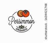 persimmon fruit logo. round... | Shutterstock .eps vector #1634421748