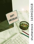 Small photo of Handwriting text Happy Anniversary. Concept meaning The annually recurring date of a past event celebration Note paper taped to black computer screen near keyboard and stationary.