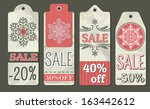 crumple christmas labels with... | Shutterstock .eps vector #163442612