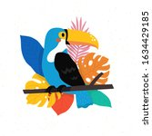 bright toucan bird with... | Shutterstock .eps vector #1634429185