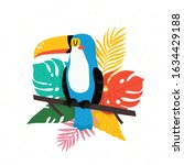 bright toucan bird with... | Shutterstock .eps vector #1634429188