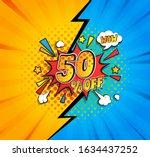 50 percent off comic speech... | Shutterstock .eps vector #1634437252