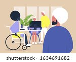 millennials working in the... | Shutterstock .eps vector #1634691682