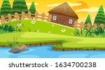 scene with wooden cottage in...   Shutterstock .eps vector #1634700238