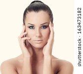 portrait of a beautiful girl.... | Shutterstock . vector #163473182