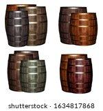 assorted oak barrels dark brown ... | Shutterstock . vector #1634817868