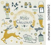 set of christmas and new year's ...   Shutterstock .eps vector #163488692