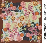 beautiful floral silk scarf... | Shutterstock .eps vector #1634893345