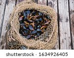 Mussels In Shells Lie In A...