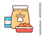 food for pets color line icon....