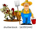 adult,agriculture,agriculturist,art,boots,career,cart,cartoon,character,countryman,coverall,cute,drawing,dray,farm