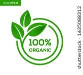 100  organic certified ecology... | Shutterstock .eps vector #1635088312