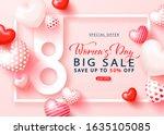 international women's day sale... | Shutterstock .eps vector #1635105085