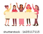 young happy women holding a...   Shutterstock .eps vector #1635117115