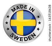 made in sweden silver badge and ... | Shutterstock .eps vector #163518638