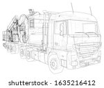 coiled tubing truck unit... | Shutterstock .eps vector #1635216412