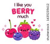 kawaii smiling berries with... | Shutterstock .eps vector #1635235612