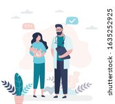 pediatrician doctor talking to... | Shutterstock .eps vector #1635252925