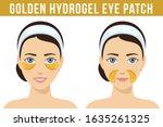 golden hydrogel eye patches.... | Shutterstock .eps vector #1635261325