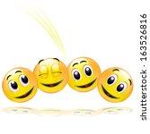 four smileys having fun | Shutterstock . vector #163526816