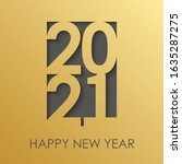 beautiful gold card happy new...   Shutterstock .eps vector #1635287275