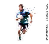 rugby player running with ball  ... | Shutterstock .eps vector #1635317602