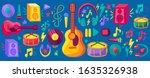musical festival flat stickers...   Shutterstock .eps vector #1635326938
